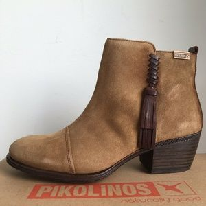 Pikolinos Baqueira Ankle Boots Tan Suede 38 40